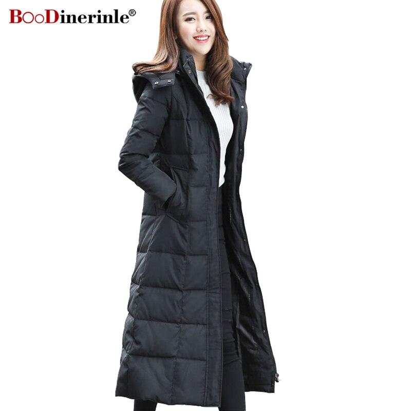 2019 Women's Long White Duck   Down   Jacket New Plus Size Thicken Detachable Hat   Down   Parka Outwear Female Slim Warm   Coat   YR094