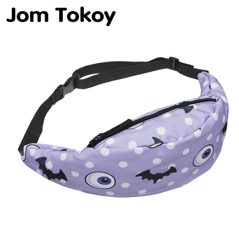 Jom Tokoy Women Fanny Packs Bat Printing Mobile Phone Bag 2018 New Women's Zipper Bag Waist Bag Belt Fashion Bum Bag