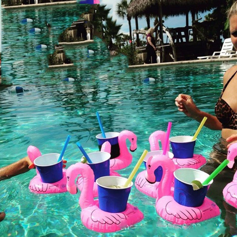 Mini Flamingo air mattresses Inflatable Water Floating Cell Phone Drink Cup Holder Toy 18*17cm Stand Station Swimming Pool Toy