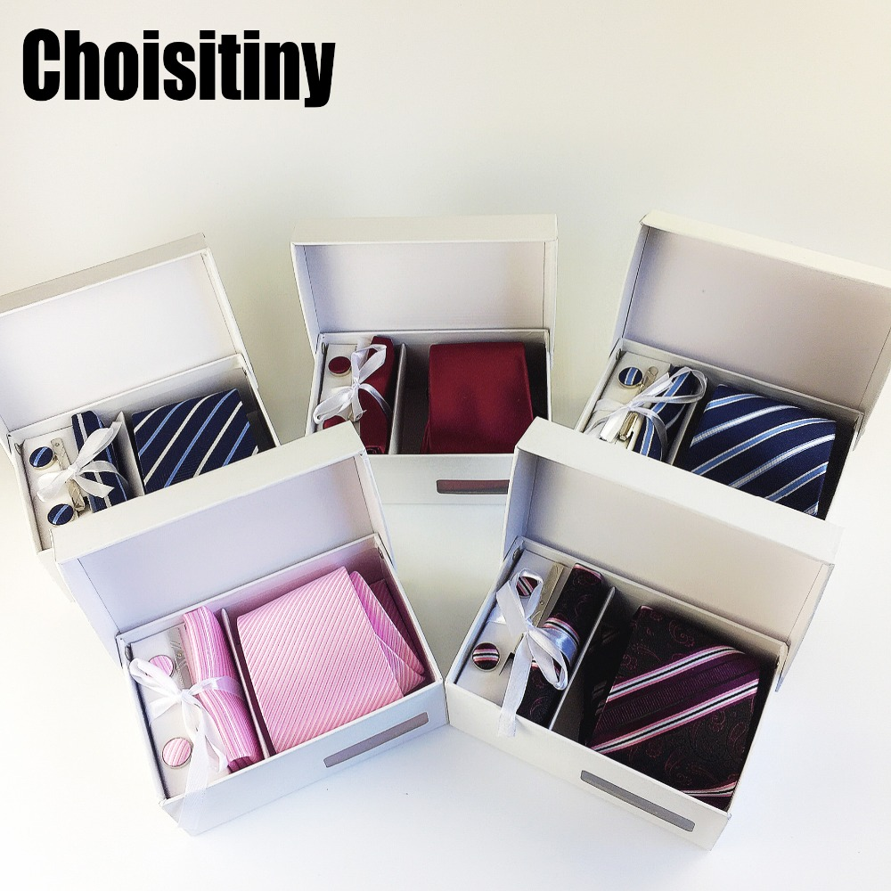 3.35 Inch Tie Paisley Classic Striped Men's Neckties Wedding Fashion Party Man Tie Handkerchief Pin Cufflinks Gift Box Packing