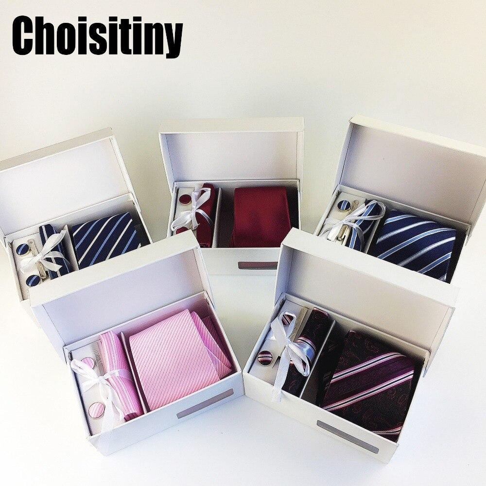 3.35 pulgadas (8 Cm) de Ancho Conjunto Plata Paisley Hombre Corbata, pañuelo, Pin y Gemelos Caja de Regalo de Embalaje de Muchos Colores