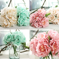 12 Bouquet 5 Heads Total 60 Heads Vintage Artificial Peony Bouquet Silk Leaf Flower Wedding Home