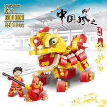 Chinese Cultures 215pcs God of Wealth Dancedragon Dancelion Assemblage Building Blocks Educational Toys Gift for Children Blocks