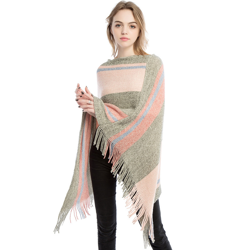 Autumn Winter Women's Large Size Ponchos Knitting Elegant Long Stole Red Black Stripes Cashmere Poncho Colorful Pullover Shawl