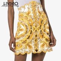 [LIVIVIO] Summer Print Hollow Out Women Skirt High Waist Beading Patchwork Irregular Mini Skirts Female Fashion Clothes New 2019
