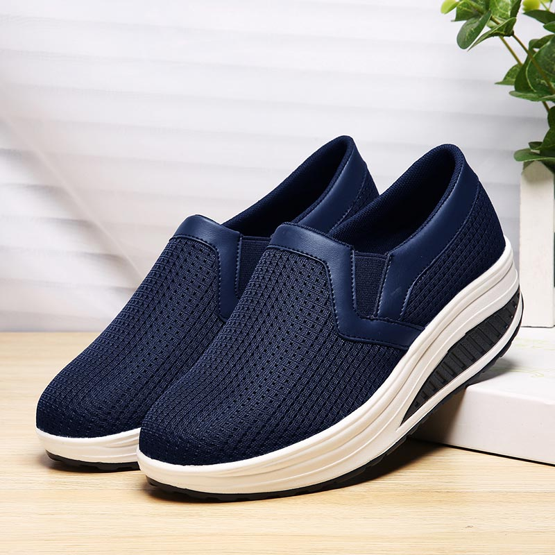 Large Size Running Shoes For Women Platform Sneakers Woman Wedge Tennis Femme Slip-on Sports Shoe Sport Slip On Swing Blue B-340