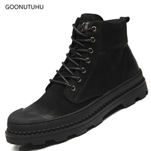 Fashion men's boots military genuine leather casual shoes autumn & winter boot shoe man black work & safety ankle boots for men цены онлайн