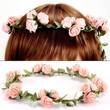 3flower headband hair accessories wedding Four Lal head wreath wedding Rose headband