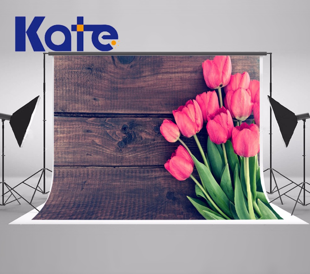 Kate Digital Printing Valentine'S Day Photography Backdrops Pink Rose Flowers Retro Gray Wood Photo Background For Girls Backdro