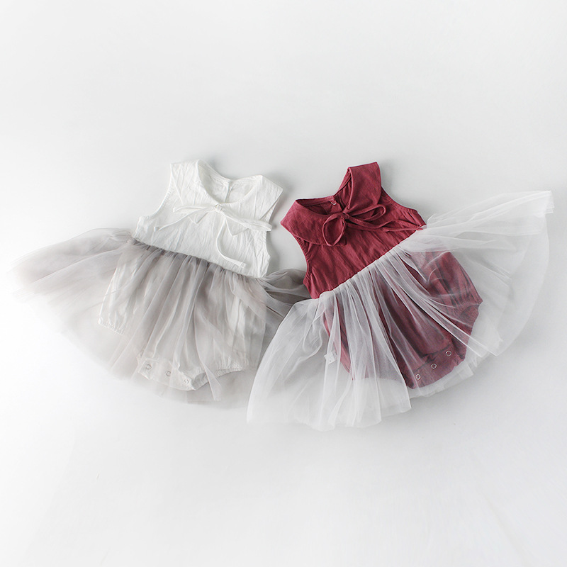 Everweekend Newborn Girls Tulle Patchwork Ins Hot Sell Rompers Summer Birthday Party Holiday Candy Color Tutu