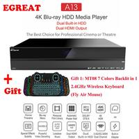 Egreat A13 4K UHD Blu ray HDD Media Player, Dual Built in HDD Dual HDMI Output, Best Choice for Cinema or Theatre Android TV Box