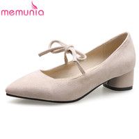 MEMUNIA fahsion big size 34 46 leisure ladies shoes low heel pointed toe lace up mary janes black red apricot casual shoes