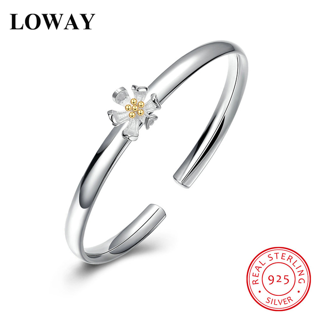 LOWAY Real 925 Sterling Silver Bangles for Women and Girls Flower Decor Adjustable Fashion Bracelet Jewelry SZ3871