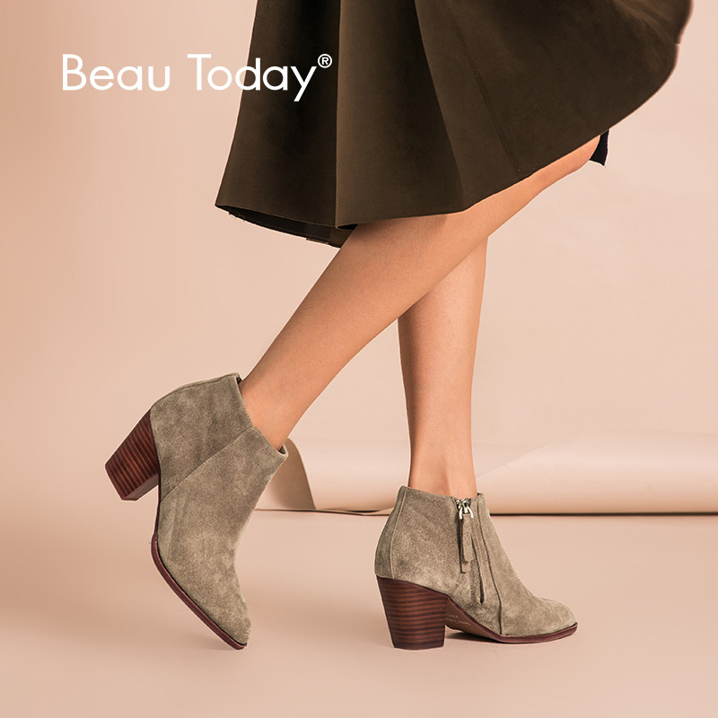 BeauToday Ankle Boots Women Top Quality Brand Genuine Leather Cow Suede Pointed Toe Zipper High Heel