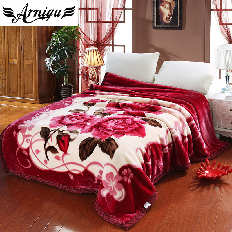 ARNIGU red rose Thick Blankets Twin Full Queen size double face thicken Raschel plaids warm Bedsheet Winter Throw/comforter lt twin full size 100