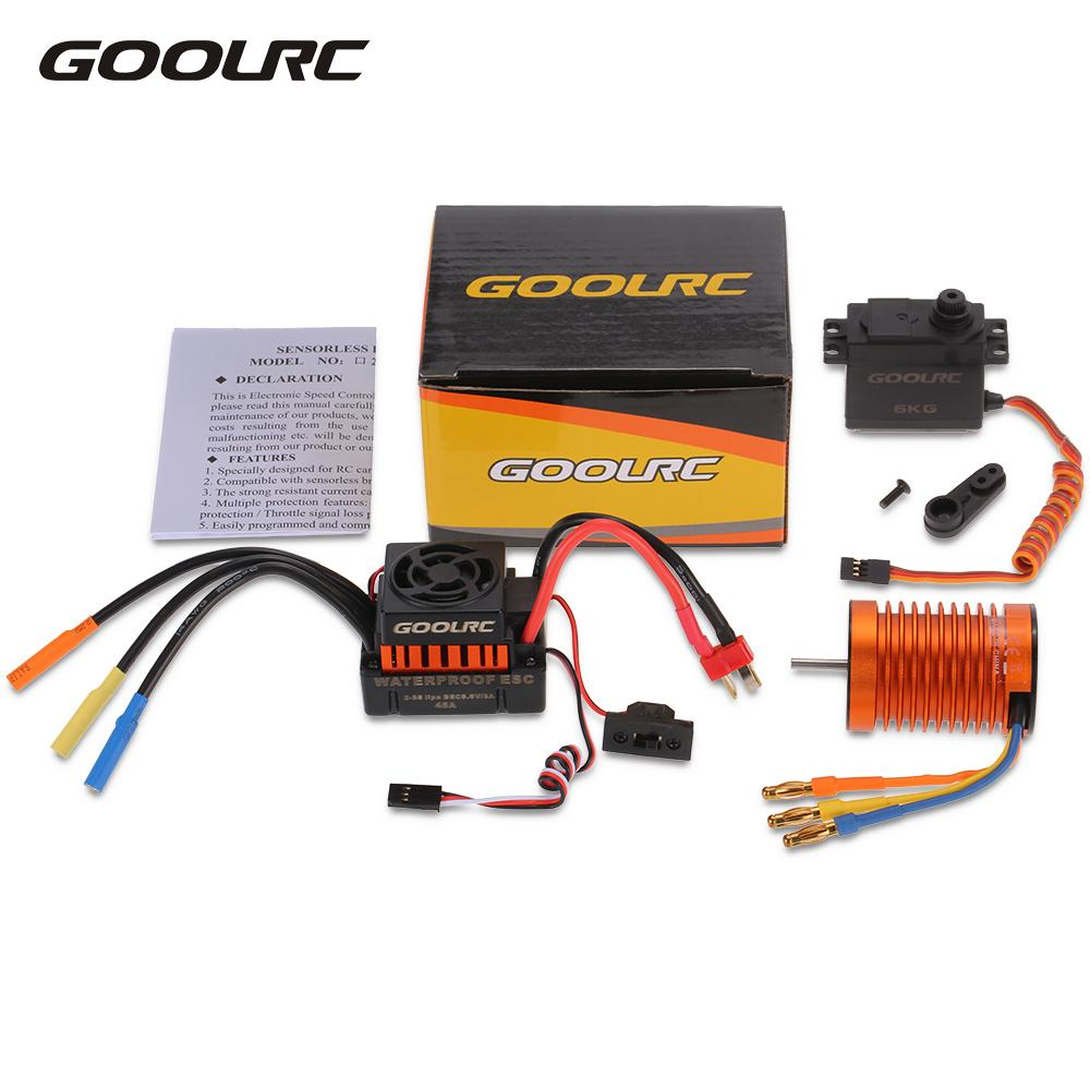 GoolRC 3300KV Non Inductive Brushless Motor 45A Electric ESC 6kg Metal Gear Servo Combo Set for 1:10 RC Car DIY Hobbies цены