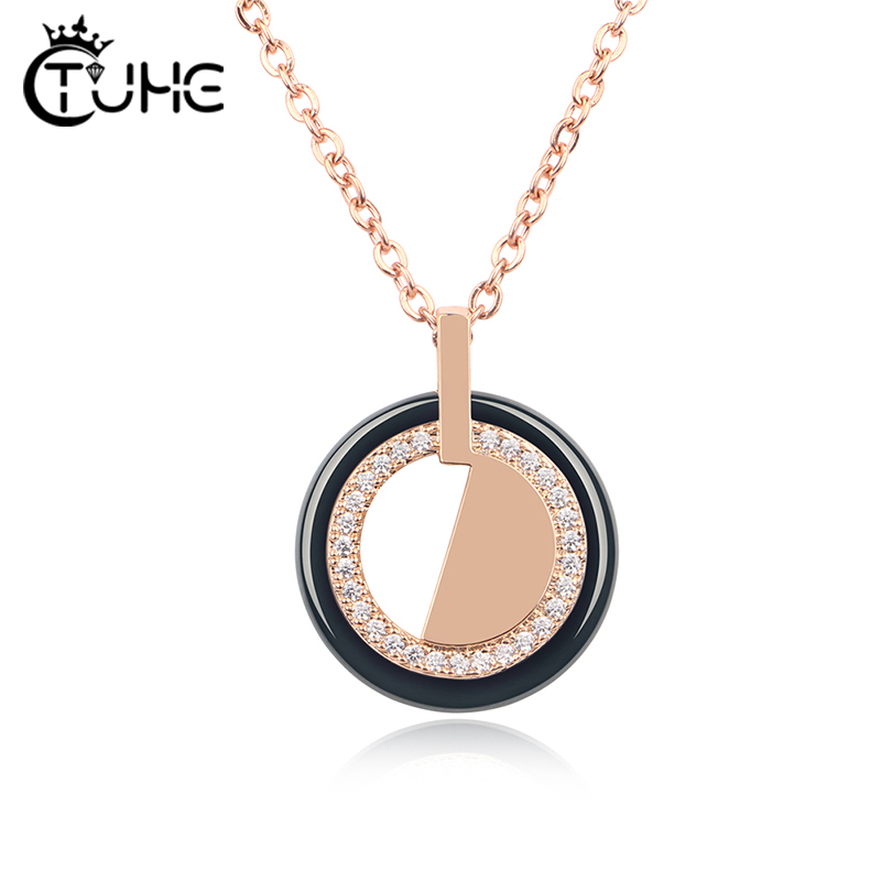 Fashion Gold Crystal Women Pendant Necklace Jewelry Geometric Crystal Statement Ceramic Necklace Made By Healthy Ceramic Gift in Pendant Necklaces from Jewelry Accessories