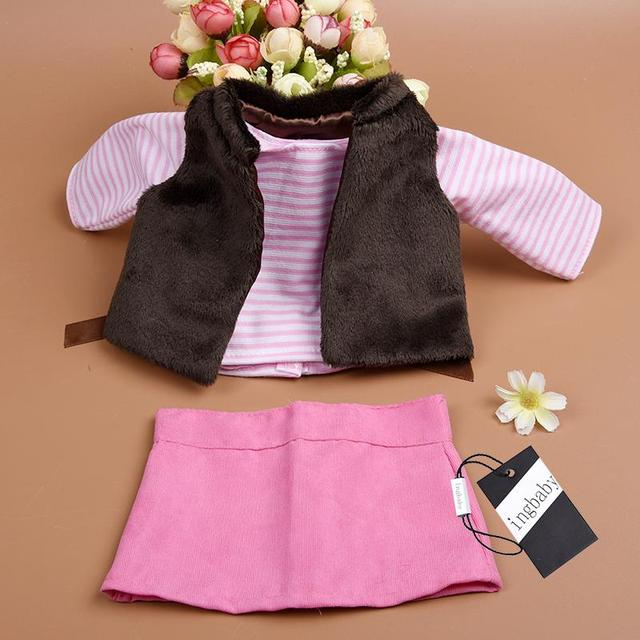 3pcs/set Vest Long Sleeve Mini Skirt Sweet 18 Inch American Girl Doll Clothes Set Children DIY Dress 18 Inch Doll Accessories