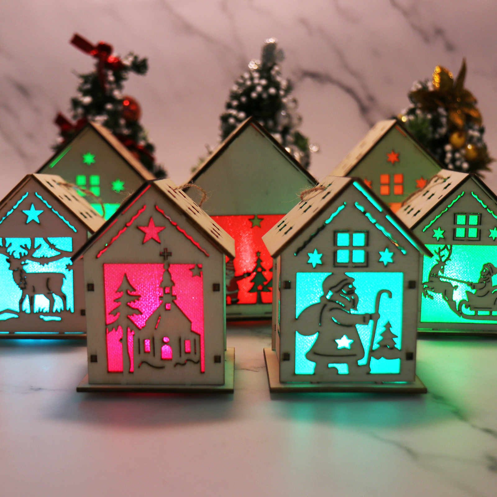 1pc Christmas Festival Led Light Wood House Christmas Tree Hanging Ornaments Holiday Xmas Gift Wedding Decoration Gifts