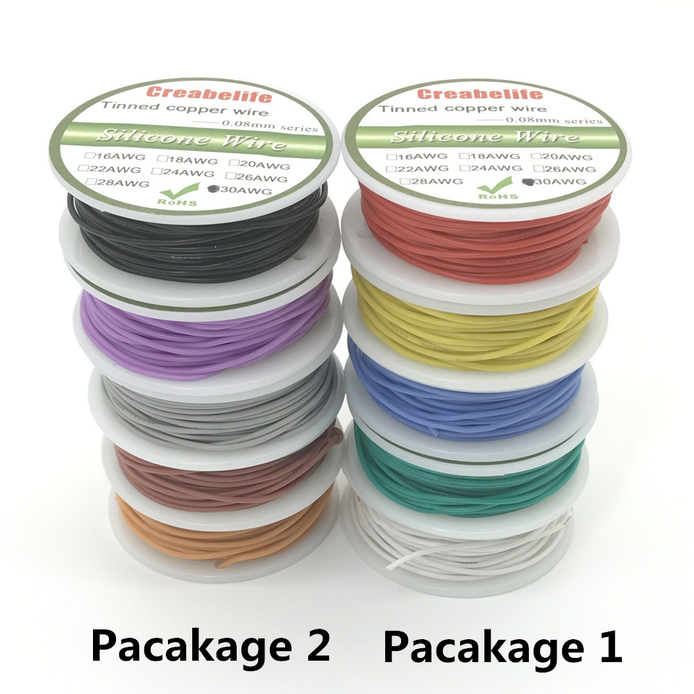 50m 30 AWG Flexible Silicone Wire RC Cable Line With 5 Colors to Select With Spool Package 1 or Package 2