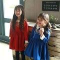 Comercio al por mayor 2015 Nuevo Otoño y el Invierno collar de Peter Pan de Los Niños Vestido de Invierno Los Niños Gruesos de Algodón de Lana Princesa Vestido Rojo Azul