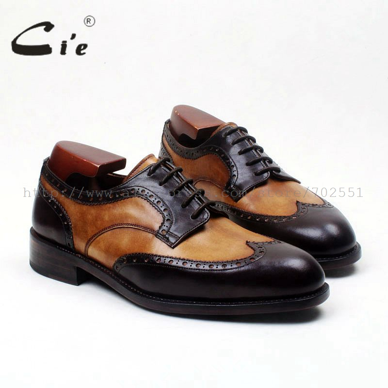 cie Round Toe Wing-Tips Brown/Black Matching Derby Lace-Up 100%Genuine Calf Leater Bottom Goodyear  Breathable Men's Shoe D187 cie round toe wing tips single monk straps hand painted brown 100%genuine calf leather breathable bottom outsole men shoems129