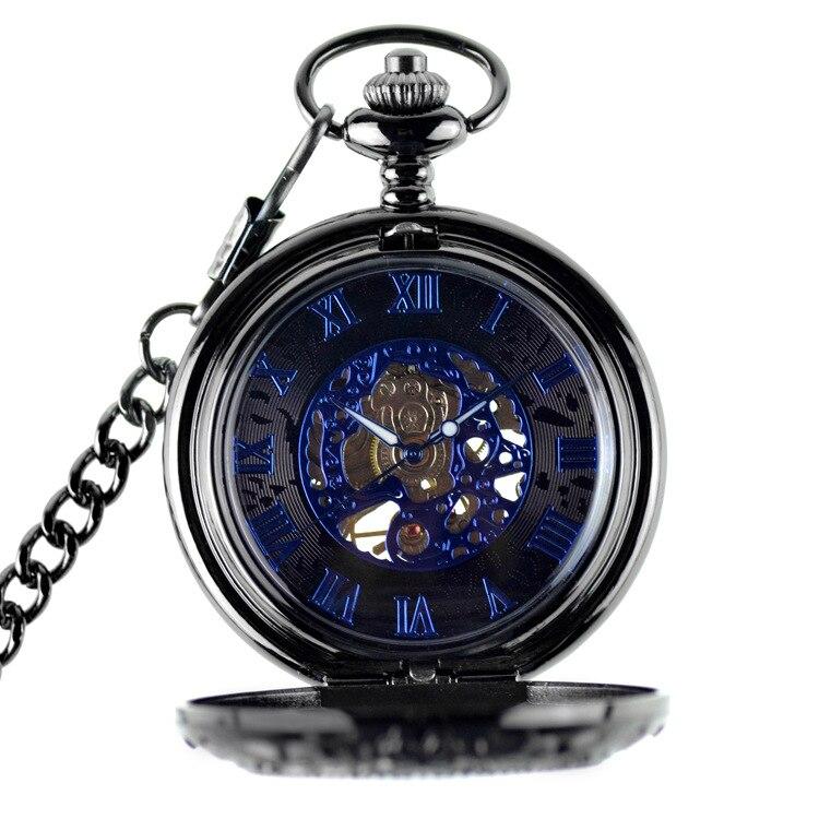 Oco esqueleto preto relógio de bolso mecânico