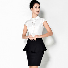 Sexy Slim Lace Spliced Sleeveless OL Body Conjoined Shirt 2019 Women Summer Business Attire Office Lady Causal Shirts Blouses