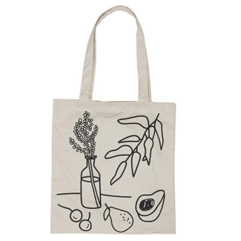 PGOLEGGY New Eco Friendly Shopping Bag Lovely Canvas Handbag Shoulder Shopping Tote Satchel Eco Messenger Bag Square Fruit Bag