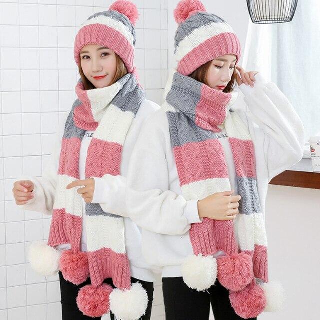 패션 선물 따뜻한 모직 겨울 여성 모자와 스카프 우아한 스카프 모자 세트 여성 2 종류의 모자 스카프 세트 긴 숙녀 스카프