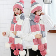 Fashion Gift Warme Wollen Winter Vrouwen Caps En Sjaals Elegante Sjaal Hoed Set Vrouwen 2 Soorten Cap Sjaal Sets lange Dames Sjaals(China)