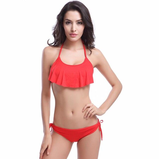 5b54b0e4c767a SWIMMART 2017 Sexy Ruffle Bikinis Women Swimsuit Push Up Swimwear Brazilian  Bikini Set Beachwear Mesh Bathing Suit Biquini New