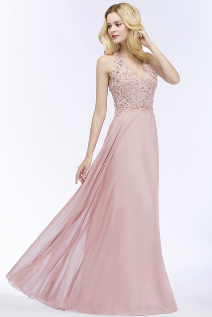 Babyonlinedress Sexy V Neck Dusty Rose Lace Chiffon Long Evening Dress Elegant Sleeveless Evening Gowns with Pearls Abendkleid 3
