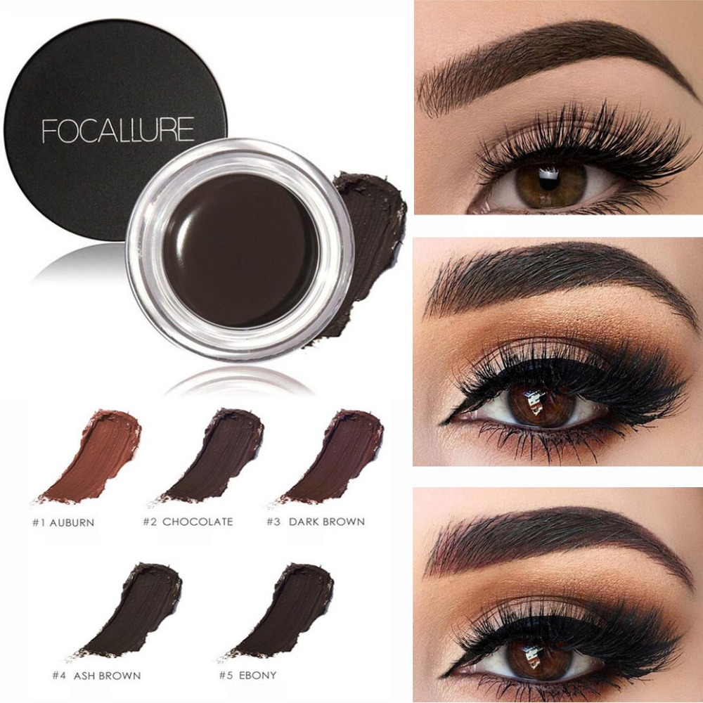 FOCALLURE 5 Color Henna Eyebrow Tint Makeup Waterproof Eyebrow Pomade Gel Enhancer Cosmetic Eye Makeup Eye Brow Cream with Brush recette merveilleuse ultra eye contour gel by stendhal for women 0 5 oz gel