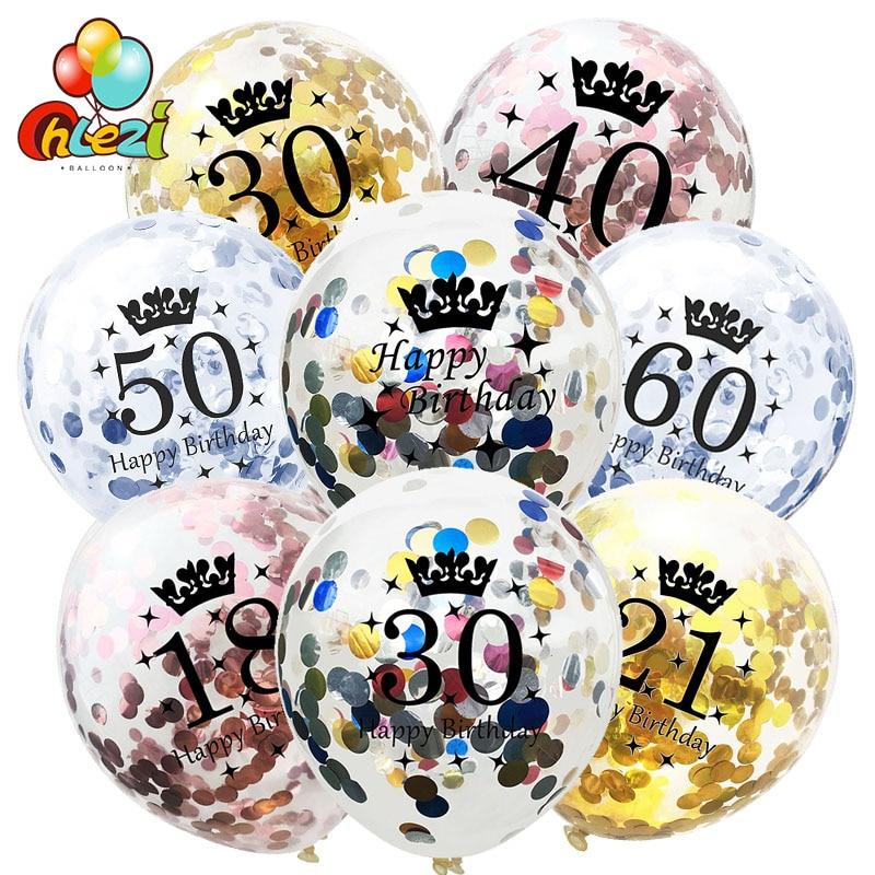 10 stücke Rose Gold Konfetti Luftballons Latex paillette Luftballons 18 21 30 40 Glücklich Geburtstag Ballon Hochzeit Dekoration Party Supplies