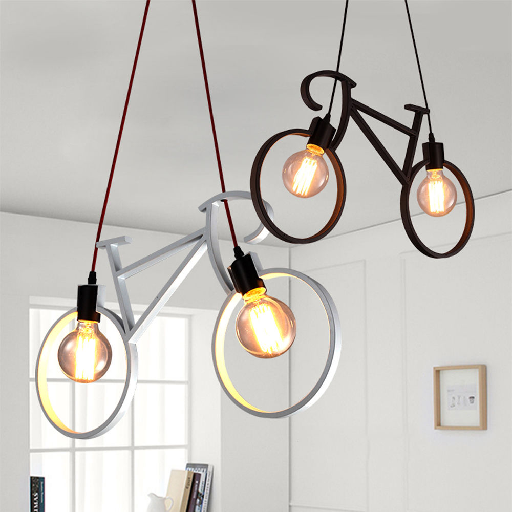 Retro Nordic Modern Iron Bicycle Chandelier Cafe Lighting LED Loft Bar Lámpara de techo Dormitorio Droplight Store Decoración para el hogar Regalo