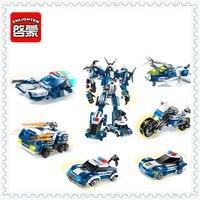 OŚWIEĆ 1407 6In1 Robotem Samolot Silnik Police Car Truck Building Block 6 Sztuk Zabawek Edukacyjnych Dla Dzieci Kompatybilny Legoe