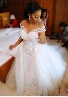 Романтические африканские большие размеры белые кружева русалка свадебное платье со съемными Свадебные платья на прокат Vestido De Novia Sirena