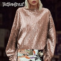 TWOTWINSTYLE Sequins Female T Shirt Slash Neck Lantern Sleeve Tulle Autumn Pullover Tops For Women Loose