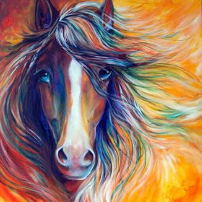 5D Diy diamond painting cross show rhinestone painting diamond embroidery home decoration gift art, color sketch horse head