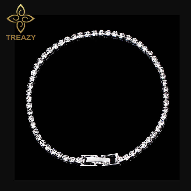 TREAZY Simple Crystal Bridal Bracelets For Women Silver Color Rhinestone Bracelets & Bangles Bridesmaid Wedding Jewelry Gift