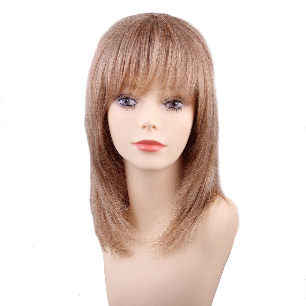 ЕСИН 16 дюймов боб парики с челкой для белых Для женщин смешанные человеческие волосы светлые имитация Топ синтетический парик Бесплатная д...