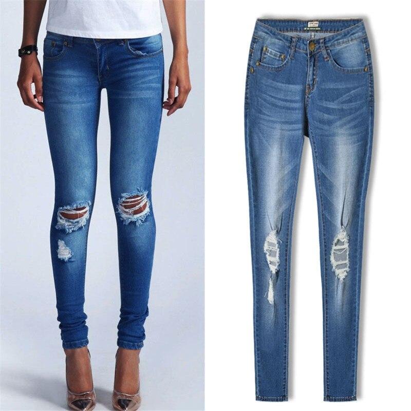 2017 Hot Sale Women s Slim Stretch Jeans Brand Design Cotton Pants New Ladies Fashion Cowboy