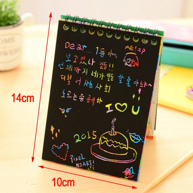 10*14cm Large Magic Color Rainbow Scratch Paper Note Book Black DIY Drawing Toys Scraping Painting Kid Doodle