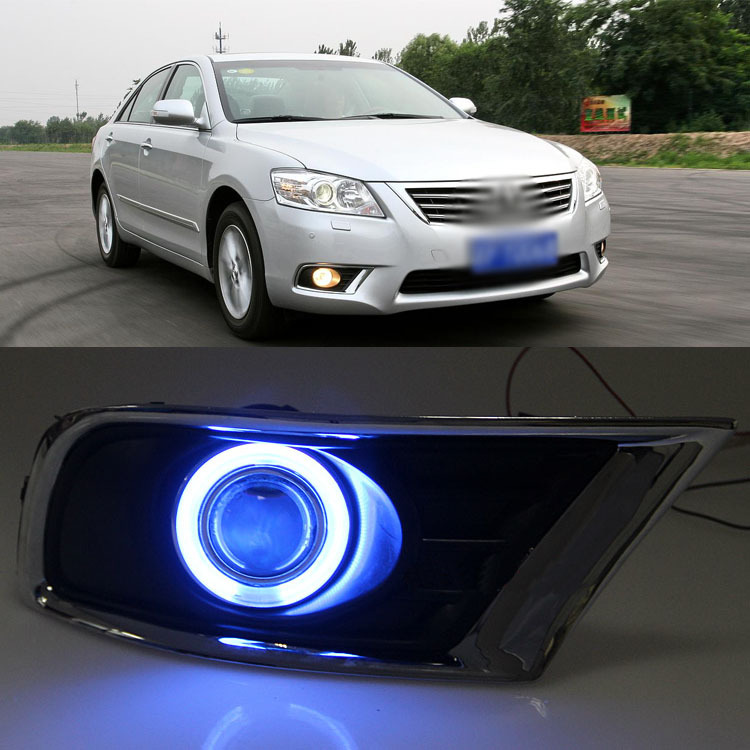 Ownsun Innovative Super COB Fog Light Angel Eye Bumper Projector Lens for Toyota Camry ownsun innovative chrome super cob fog light angel eye bumper cover for mitsubishi asx