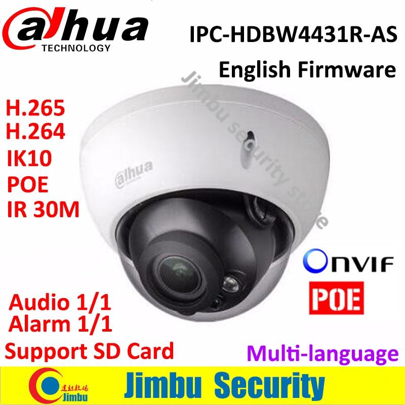 bilder für Dahua H.265 Ip-kamera IPC-HDBW4431R-AS IR HD 1080 p 4MP IR sicherheit Cctv-dome-kamera Unterstützung POE netzwerk IK10 IP67 mehrsprachige