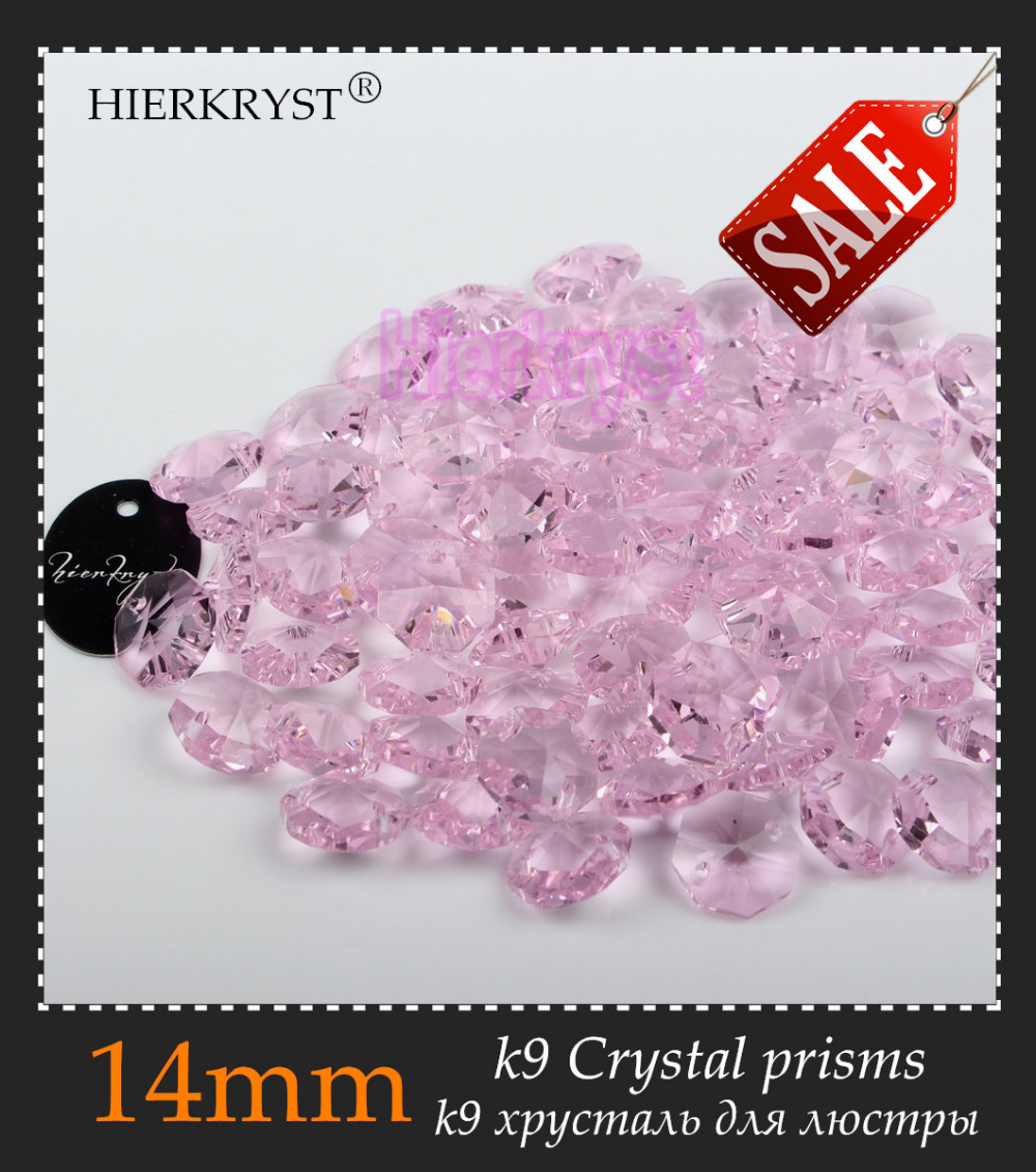 HIERKRYST 50 Pcs 14 Mm Octagon Beads Crystal Glass Chandelier Parts Rainbows Maker Prisms Pendants Connectors Pink #02A
