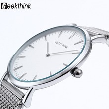 2016 Top Marka Luksusowy zegarek Kwarcowy Casual men-zegarek kwarcowy ze stali nierdzewnej Siatki pasek ultra thin zegar mężczyzna relogio masculino