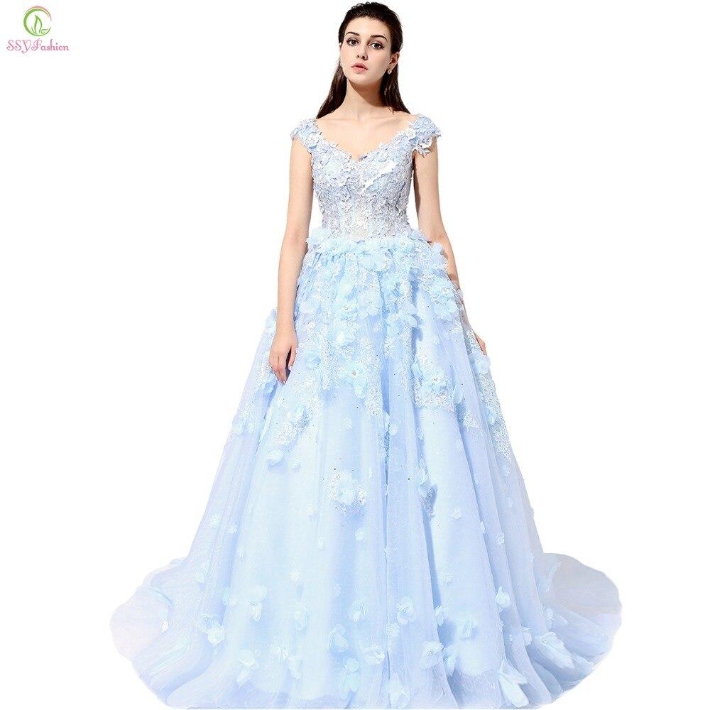 Ssyfashion Роскошные кружевное платье с цветочным рисунком Свадебное платье высокого класса Романтический Кристалл Бисер Банкетный бальное пл