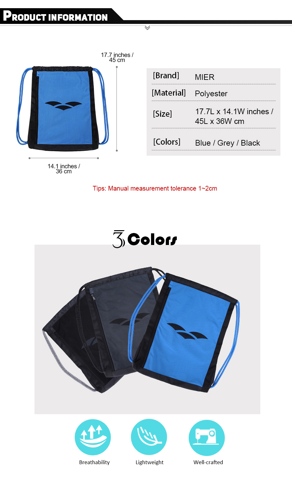 MIER Drawstring Bag Men Women Sackpack for Beach 2df2151b698f2